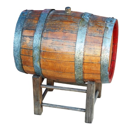 Very old wooden barrel.  photo