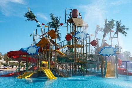 Colorful aquapark constructions photo