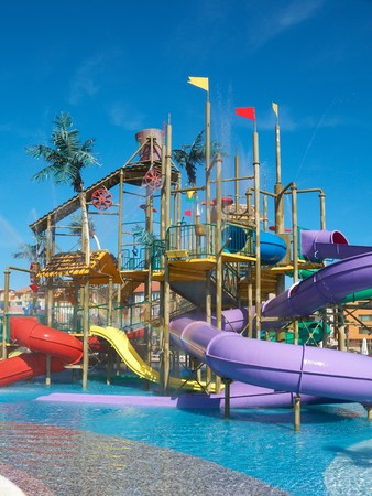 Colorful aquapark constructions Stock Photo