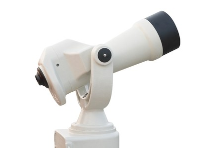 Tourist-type telescope. Isolated on white, with clipping path. photo