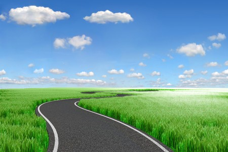 Road and green field. 3d Landscape photo