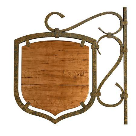 placa bacteriana: Panel de se�al de madera vieja. Aislados en blanco