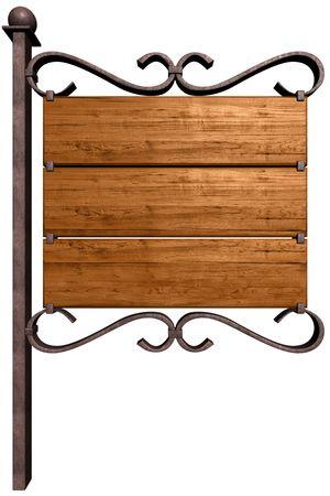 Oude houten uithang bord. Geïsoleerd op wit Stockfoto