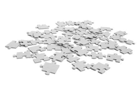 upturned: Pieces of puzzle upturned. Isolated on white