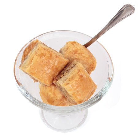Biscuits in a glass bowl on a white background photo