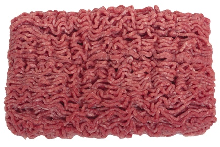 Raw ground beef. Isolated on white photo