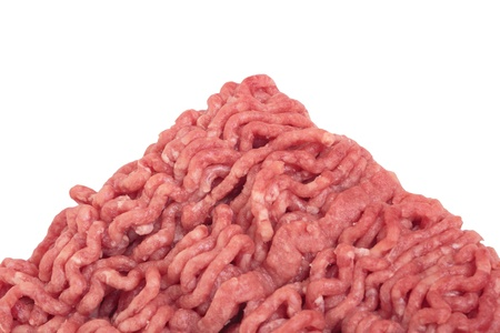 Close up of handful raw ground beef photo