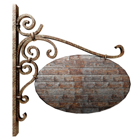 hanging sign: Old wooden signboard. Isolated on white, with clipping path.