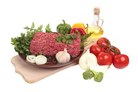 Ground meat. Isolated on white, with clipping path. photo