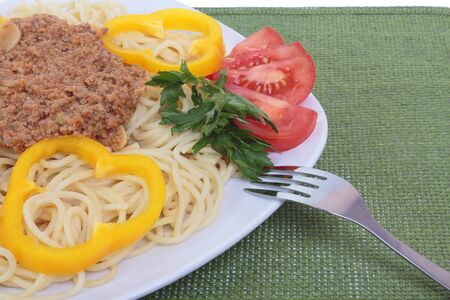 Spaghetti with beef and tomato ragu. Stock Photo - 9837824