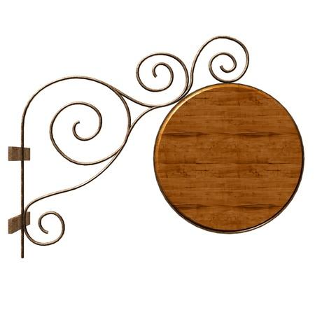 letreros: Se�al de madera vieja. Aislados en blanco