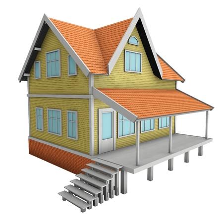 New family house. 3d illustration. Isolated on white illustration