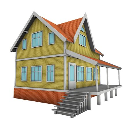 New family house. 3d illustration. Isolated on white, with clipping path. illustration