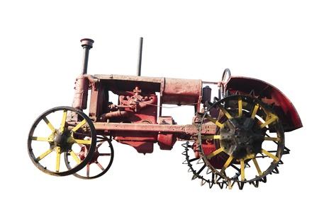 maquina de vapor: Vintage tractor. Aislado en blanco