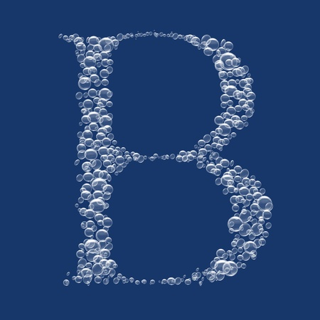 B Letter created from bubbles in water photo