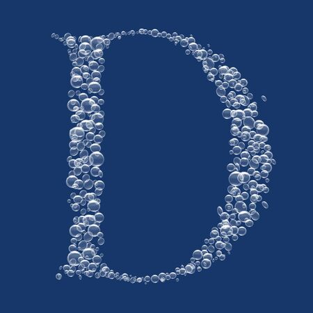 D Letter created from bubbles in water photo