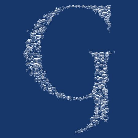 liquid g: G Letter created from bubbles in water