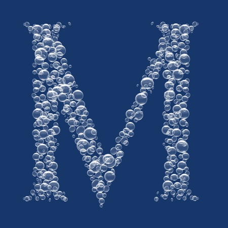 M Letter created from bubbles in water photo