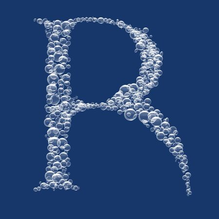 R Letter created from bubbles in water photo