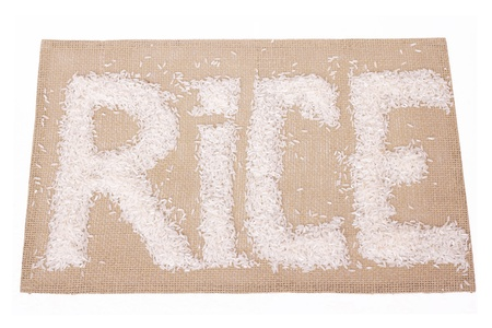 Grains of rice in the form of inscriptions on the tablecloth photo
