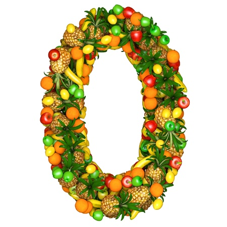 Number zero made from 3d fruits. Isolated on a white.