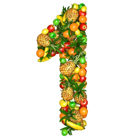 Number one made from 3d fruits. Isolated on a white. photo
