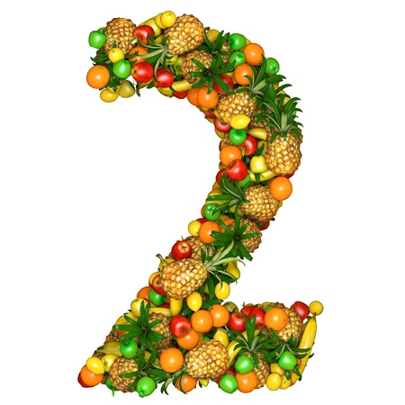 Number two made from 3d fruits. Isolated on a white. photo