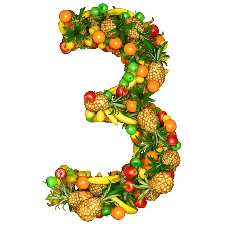 number three: Number three made from 3d fruits. Isolated on a white. Stock Photo