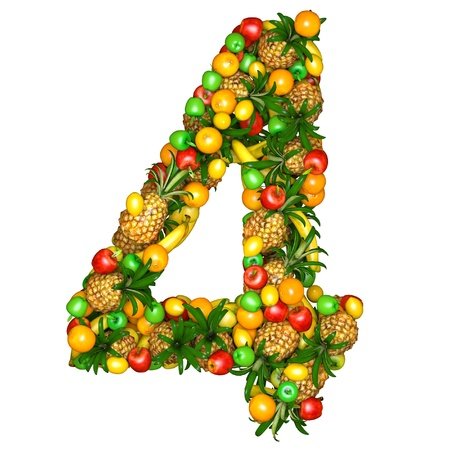 numeral: Number four made from 3d fruits. Isolated on a white.