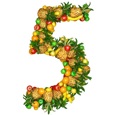 five element: Number five made from 3d fruits. Isolated on a white.