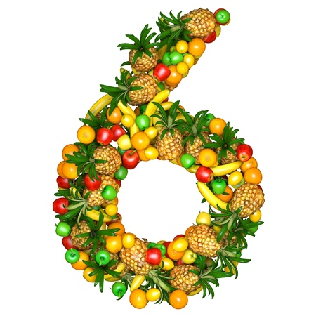 collage alphabet: Number six made from 3d fruits. Isolated on a white. Stock Photo