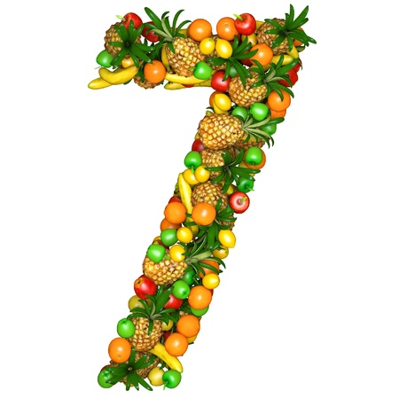 seven: Number seven made from 3d fruits. Isolated on a white.