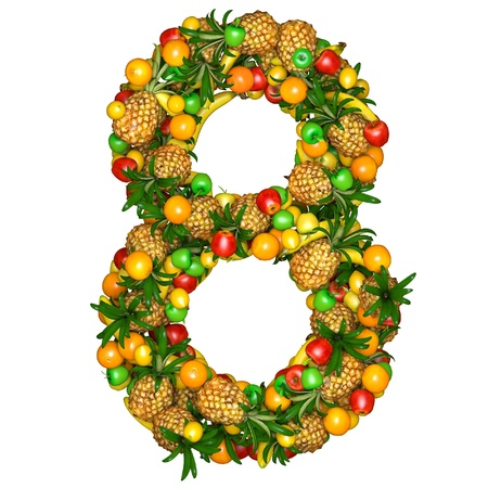 Number eight made from 3d fruits. Isolated on a white. photo