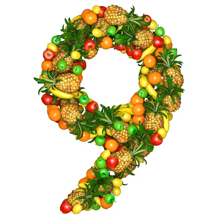 Number nine made from 3d fruits. Isolated on a white. photo