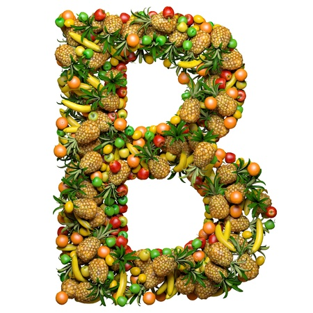 Letter -  B made from 3d fruits. Isolated on a white.