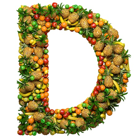 Letter -  D made from 3d fruits. Isolated on a white.