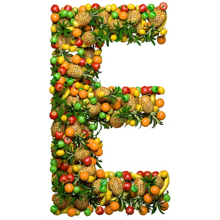 Letter -  E made from 3d fruits. Isolated on a white.