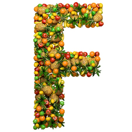 Letter -  F made from 3d fruits. Isolated on a white. Фото со стока