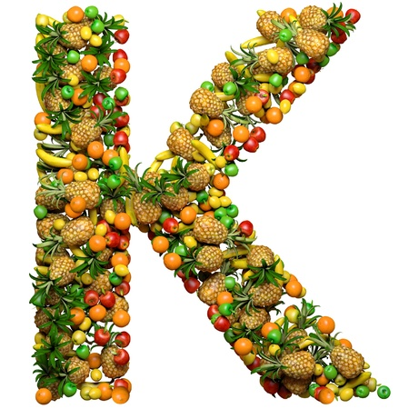 Letter - K made from 3d fruits. Isolated on a white. 免版税图像