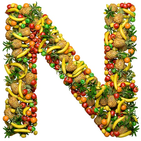 health collage: Letter - N made from 3d fruits. Isolated on a white. Stock Photo