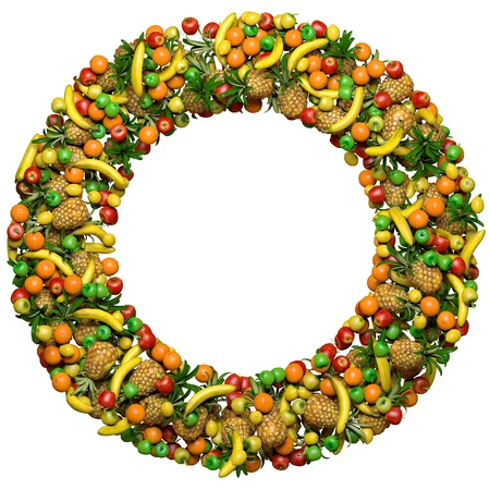 mix fruit: Letter - O, or number - zero, made from 3d fruits. Isolated on a white.