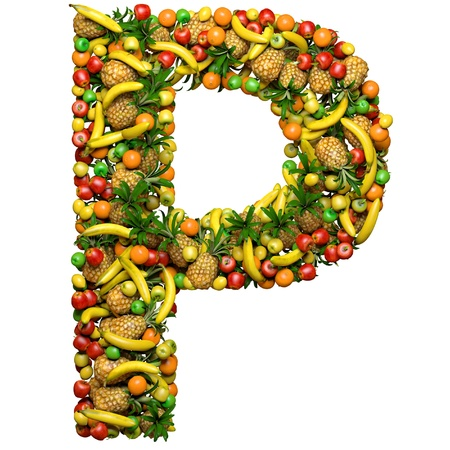 Letter - P made from 3d fruits. Isolated on a white.