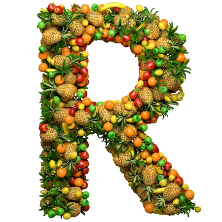 Letter -  R made from 3d fruits. Isolated on a white.