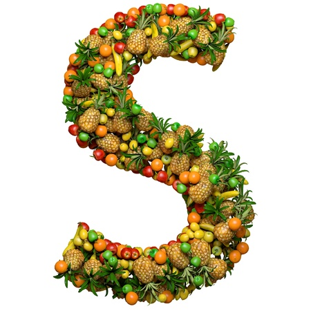 Letter -  S made from 3d fruits. Isolated on a white. Stock Photo - 11809626