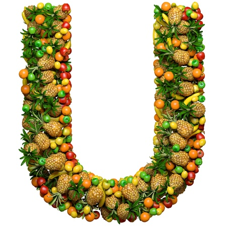 Letter - U made from 3d fruits. Isolated on a white.