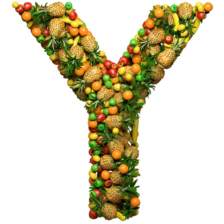 y shaped: Letter - Y made from 3d fruits. Isolated on a white. Stock Photo