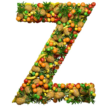 Letter - Z made from 3d fruits. Isolated on a white. photo