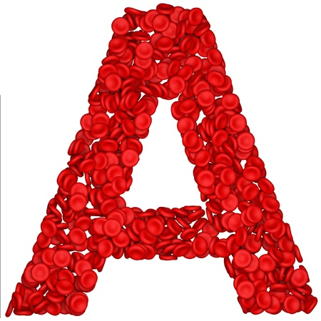 Letter - A made from red blood cells. Isolated on a white. photo
