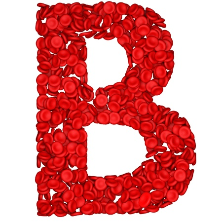 blood cells: Letter - B made from red blood cells. Isolated on a white.