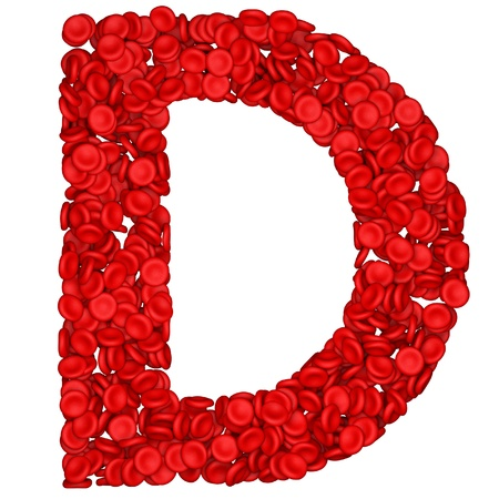 Letter - D made from red blood cells. Isolated on a white. photo